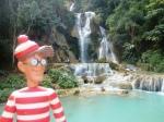 19/01/2013 – Luang Prabang, Laos : Charlie devant les waterfalls de Kuang Si