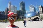 30/04/2013 – Chicago, USA : Charlie devant le Cloud Gate