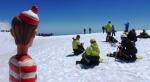 13/11/2012 – Pucon, Chili : Charlie au sommet du Villarrica, prêt pour la descente. Pas besoin de casque, lui