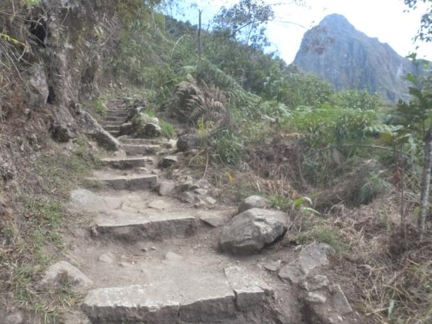 Les marches de la montée vers le Machu, vues de jour